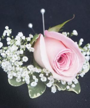pink rose boutonniere - Garden Rose Boutonniere