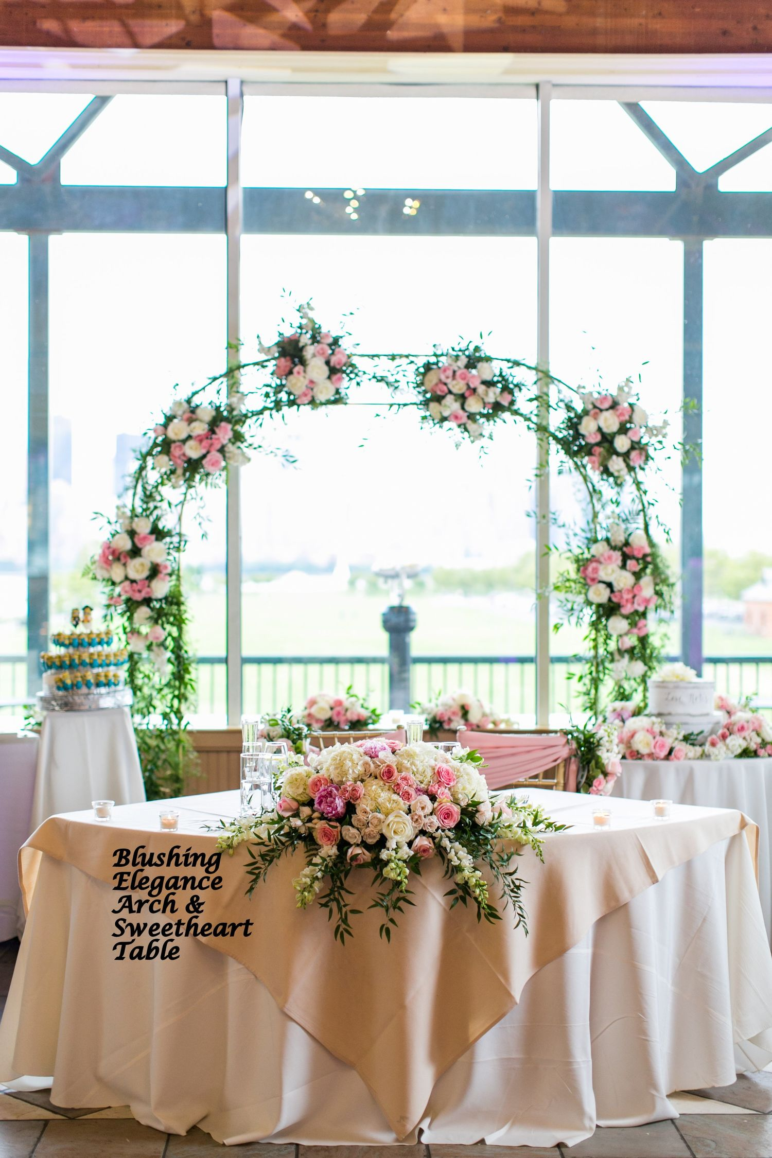 reception  sweetheart  u0026 card table flowers